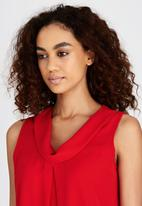 edit - Cowl Neck Cami with Pleat Detail Red