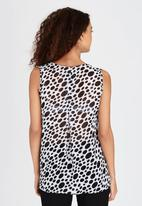 edit - Cowl Neck Cami with Pleat Detail Black and White
