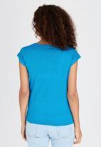 edit - Sleeveless Drape Top Blue