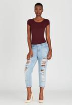 c(inch) - Short Sleeve Bodysuit Dark Red