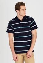 JEEP - Short Sleeve Yarn Dye Golfer Navy