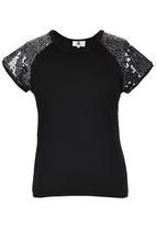 Rebel Republic - Sequins Sleeves Tee Black
