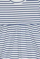 POP CANDY - Girls Printed Stripe  Dress Blue and White
