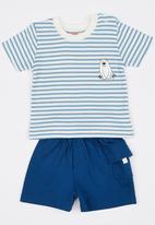 Baby Corner - Iceberg  2 Piece T-Shirt Short Set Mid Blue