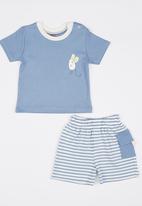 Baby Corner - Mouse 2 Piece T-Shirt Short Set  Mid Blue