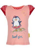Hooligans - Surf Girl  Tee Coral