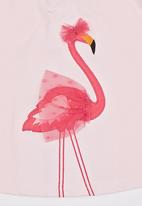 POP CANDY - Printed Flamingo Tee Mid Pink