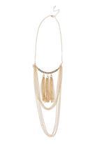 edit - Fringe Benefit Tassel Trio Necklace Gold