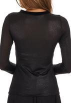ERRE - Sheer Shimmer Jersey Top Black