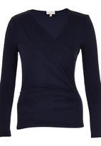 edit - Long Sleeve Wrap T-shirt Navy