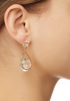 edit - Faceted Stone Teardrop Earrings Gold