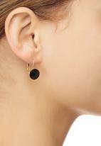 edit - Faceted Stone Drop Earrings Black