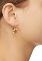 edit - Faceted Stone Drop Earrings Gold