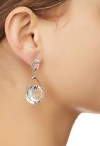 edit - Faceted Stone Teardrop Earrings Silver