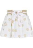 POP CANDY - Polka-dot Pleated Skirt Beige