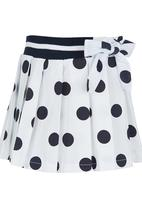POP CANDY - Polka-dot Pleated Skirt Navy