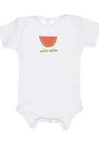 Luke & Lola - Watermelon Print Shortsleeve Babygrow White