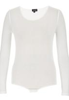 c(inch) - Long Sleeve Fitted Bodysuit Cream