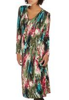 Slick - Gwen Side Drape Dress Mid Green