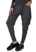 Slick - Christa Side Drape Pants Grey Melange