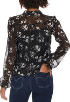 edit - Printed Kitty Bow Blouse Black and White