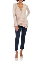 STYLE REPUBLIC - Cross-over Knit Tunic Pale Pink