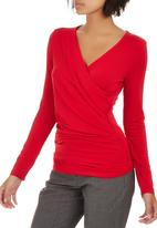 edit - Long Sleeve Wrap T-shirt Red