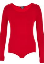 c(inch) - Long Sleeve Fitted Bodysuit Red