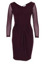 ELIGERE - V-neck Cocktail Dress Dark Purple