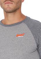 Superdry. - Orange Label Baseball Tee Pale Grey