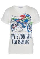 POP CANDY - Motobike V-neck T-shirt White