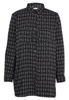 Brave Soul - Lock & Key Print Oversize Shirt Black and White