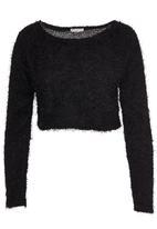 Brave Soul - Fluffy Cropped Knit Black