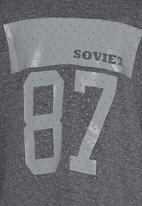 SOVIET - Long Sleeve Crew Neck Tee With Print Dark Grey
