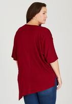 edit Plus - Angled Hemline Tunic Dark Red