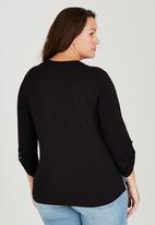 edit Plus - Blouse with Zip Detail Black