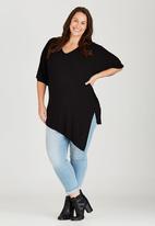 edit Plus - Angled Hemline Tunic Black