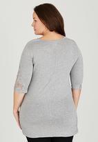 edit Plus - Lace Detail Sleeve Top Grey