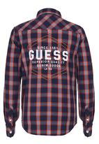 GUESS - Media Plaid Shirt Mid Blue