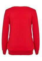 Rebel Republic - Printed Fleece Sweater Red