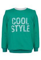 Rebel Republic - Printed Fleece Sweater Green
