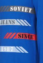 SOVIET - Long Sleeve Crew Neck Tee With Print Mid Blue