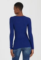GUESS - Longsleeve Sexy Rib Lola Lace-up Top Mid Blue
