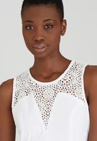 ELIGERE - Lace Inset Bodycon Dress Milk