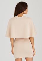 London Hub - V-Neck Crepe Bodycon Dress Neutral