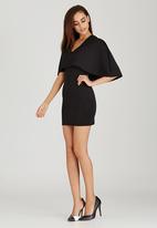 London Hub - V-Neck Crepe Bodycon Dress Black
