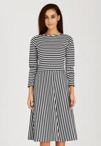 RUFF TUNG - Striped Holly Dress Black and White