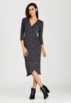 edit - Wrap-over Dress Dark Grey