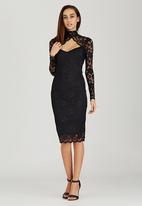London Hub - High-Neck Lace Midi Dress Black