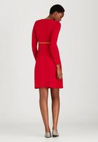 Cherry Melon - Scoop-Neck Long Sleeve Dress Red